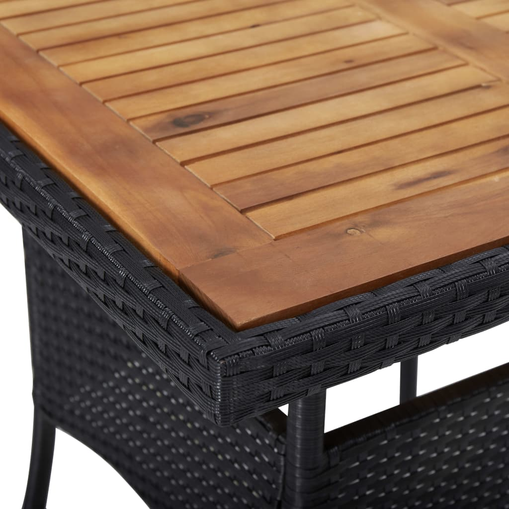 Outdoor Dining Table Black Poly Rattan and Solid Acacia Wood 3