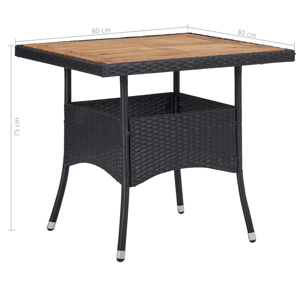 Outdoor Dining Table Black Poly Rattan and Solid Acacia Wood 4