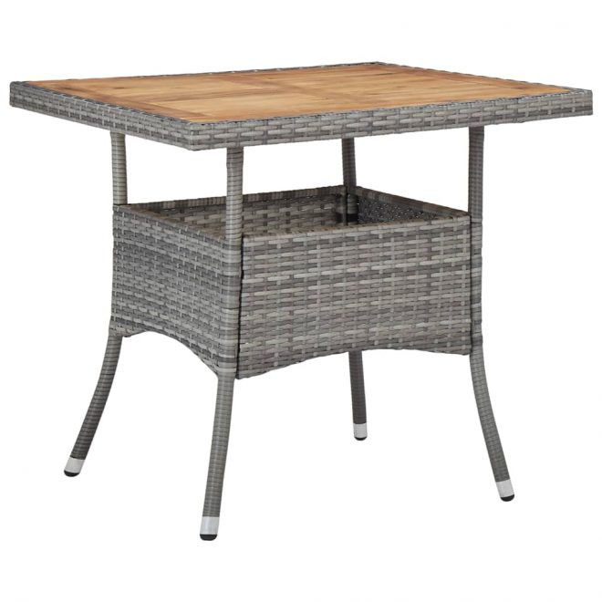 Outdoor Dining Table Grey Poly Rattan and Solid Acacia Wood 1