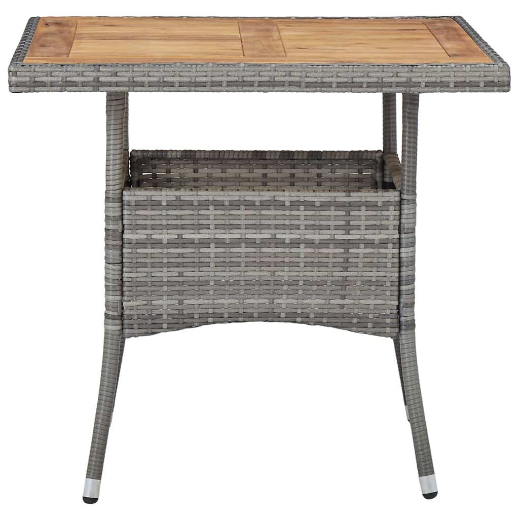 Outdoor Dining Table Grey Poly Rattan and Solid Acacia Wood 3