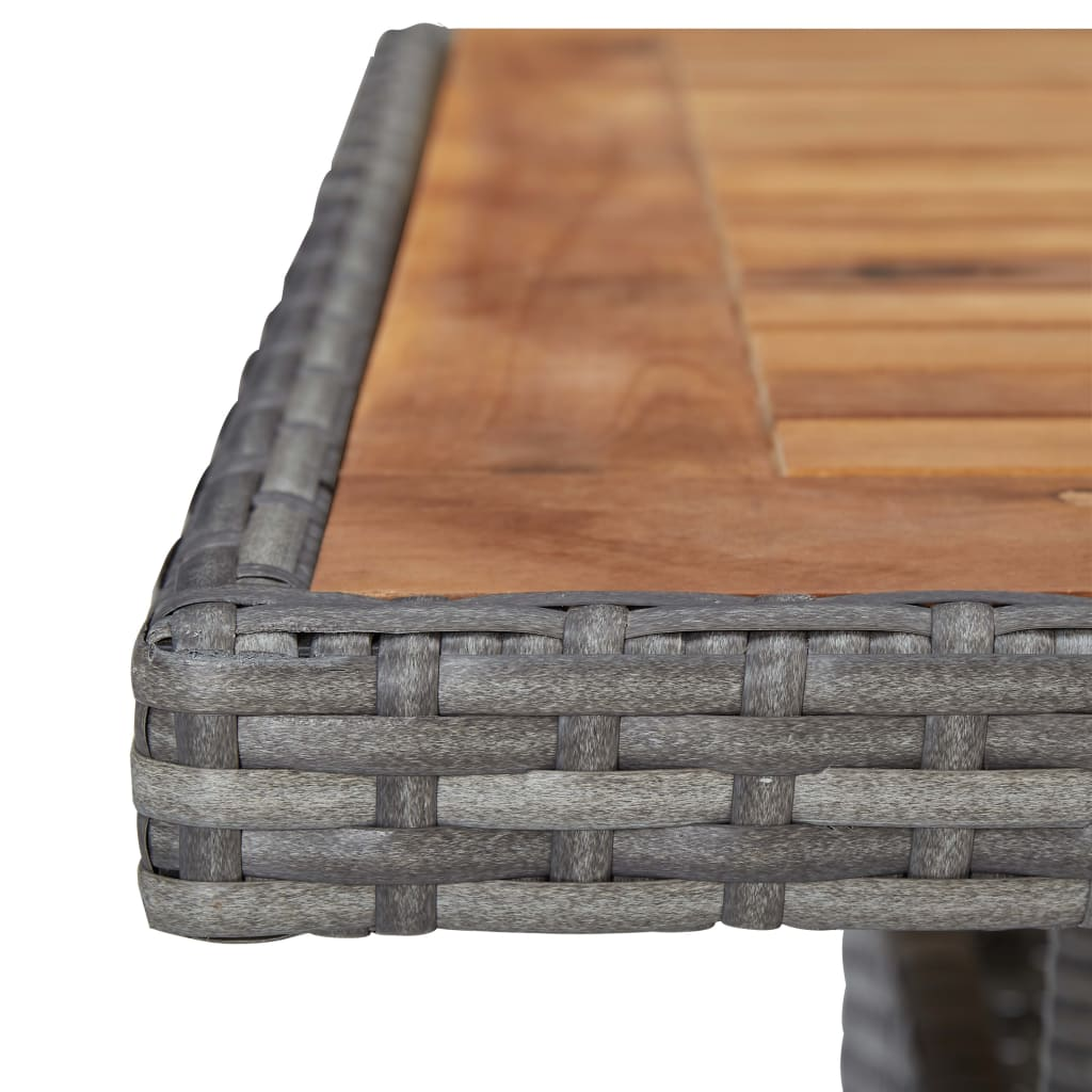 Outdoor Dining Table Grey Poly Rattan and Solid Acacia Wood 4