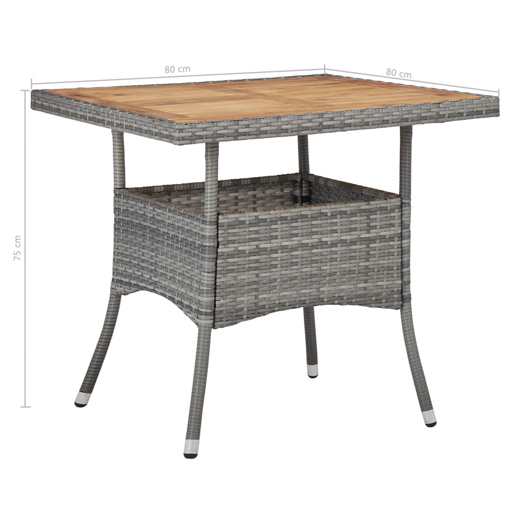 Outdoor Dining Table Grey Poly Rattan and Solid Acacia Wood 5