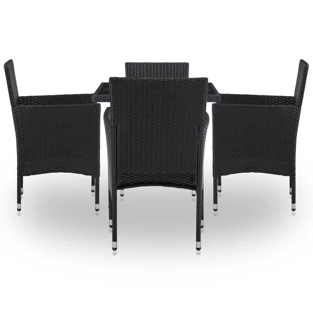 5 Piece Outdoor Dining Set Black Poly Rattan and Glass 3