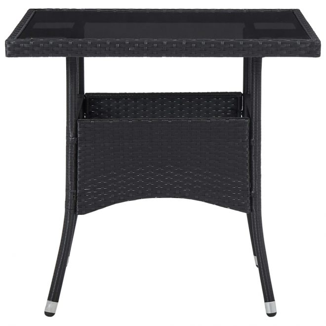 5 Piece Outdoor Dining Set Black Poly Rattan and Glass 5