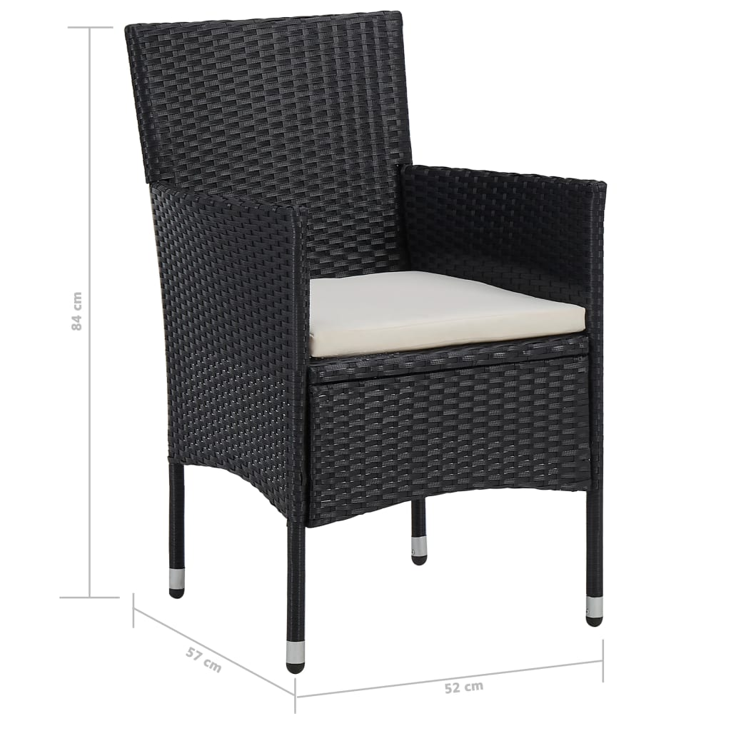 5 Piece Outdoor Dining Set Black Poly Rattan and Glass 7