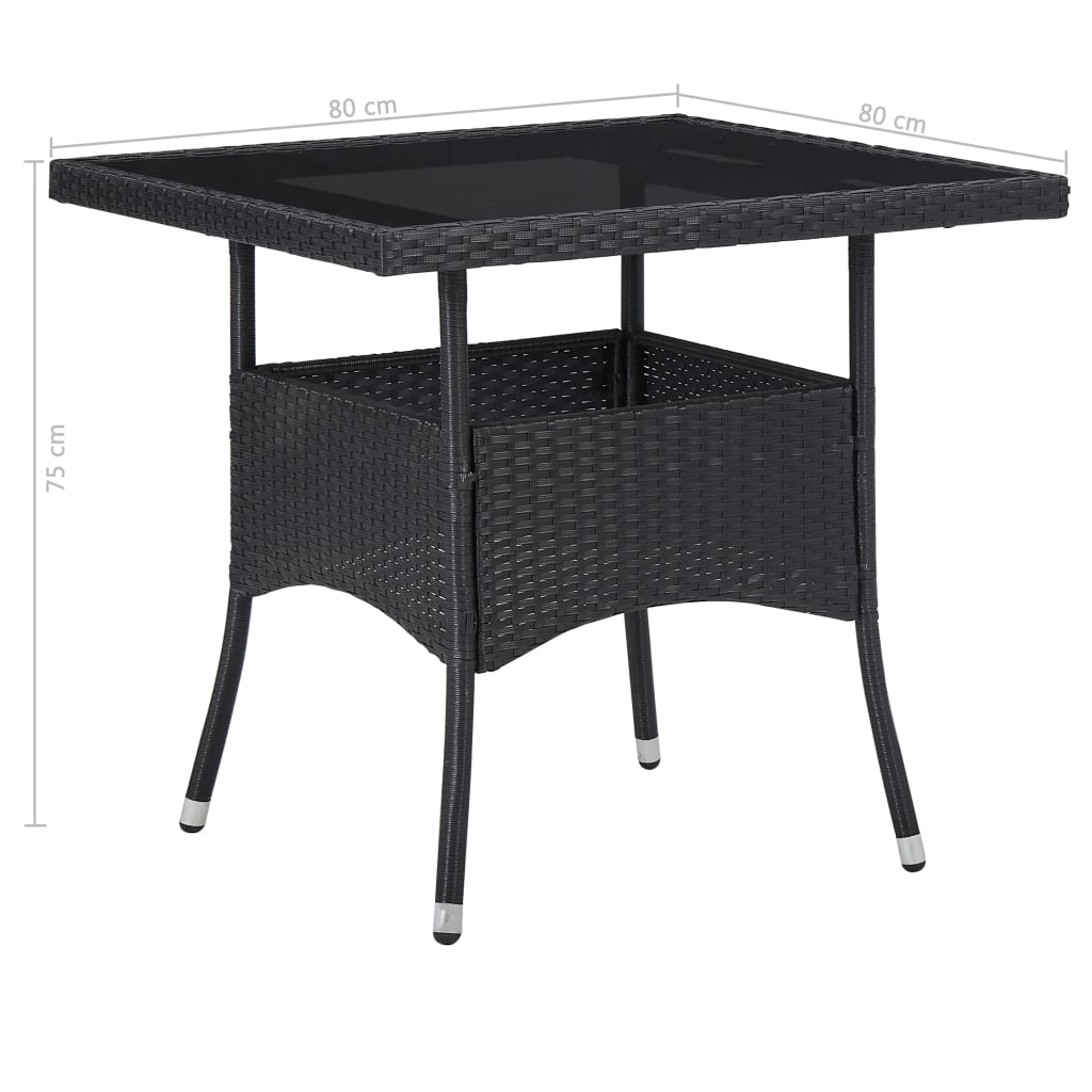 5 Piece Outdoor Dining Set Black Poly Rattan and Glass 8