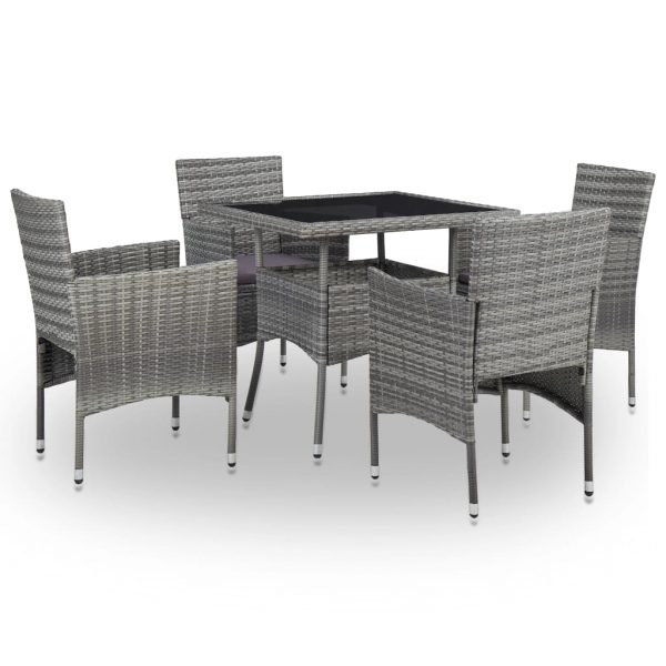 5 Piece Outdoor Dining Set Grey Poly Rattan and Glass 1