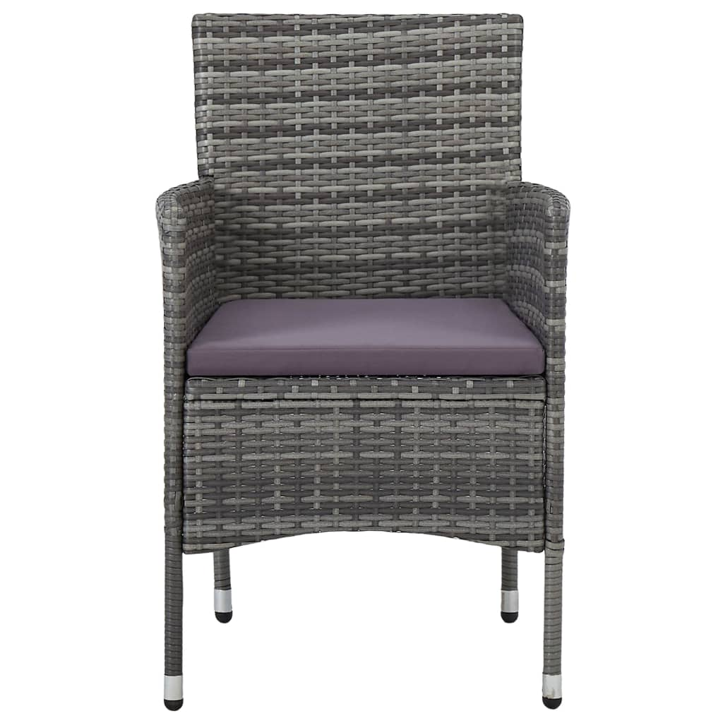 5 Piece Outdoor Dining Set Grey Poly Rattan and Glass 4