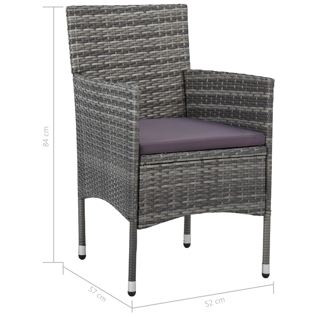 5 Piece Outdoor Dining Set Grey Poly Rattan and Glass 7