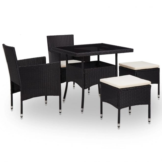 5 Piece Outdoor Dining Set Black Poly Rattan and Glass 1