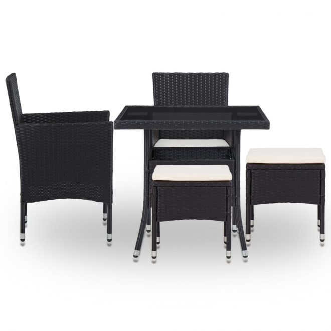 5 Piece Outdoor Dining Set Black Poly Rattan and Glass 2
