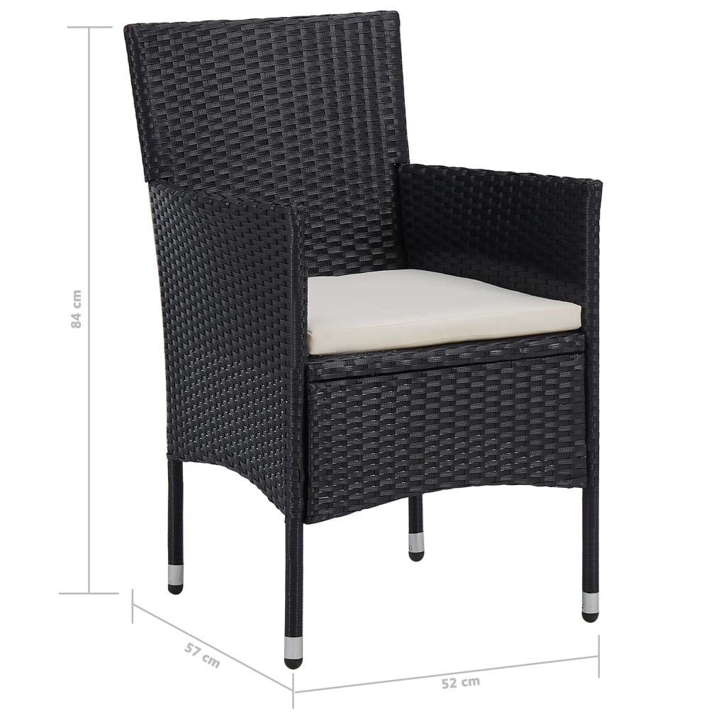 5 Piece Outdoor Dining Set Black Poly Rattan and Glass 9