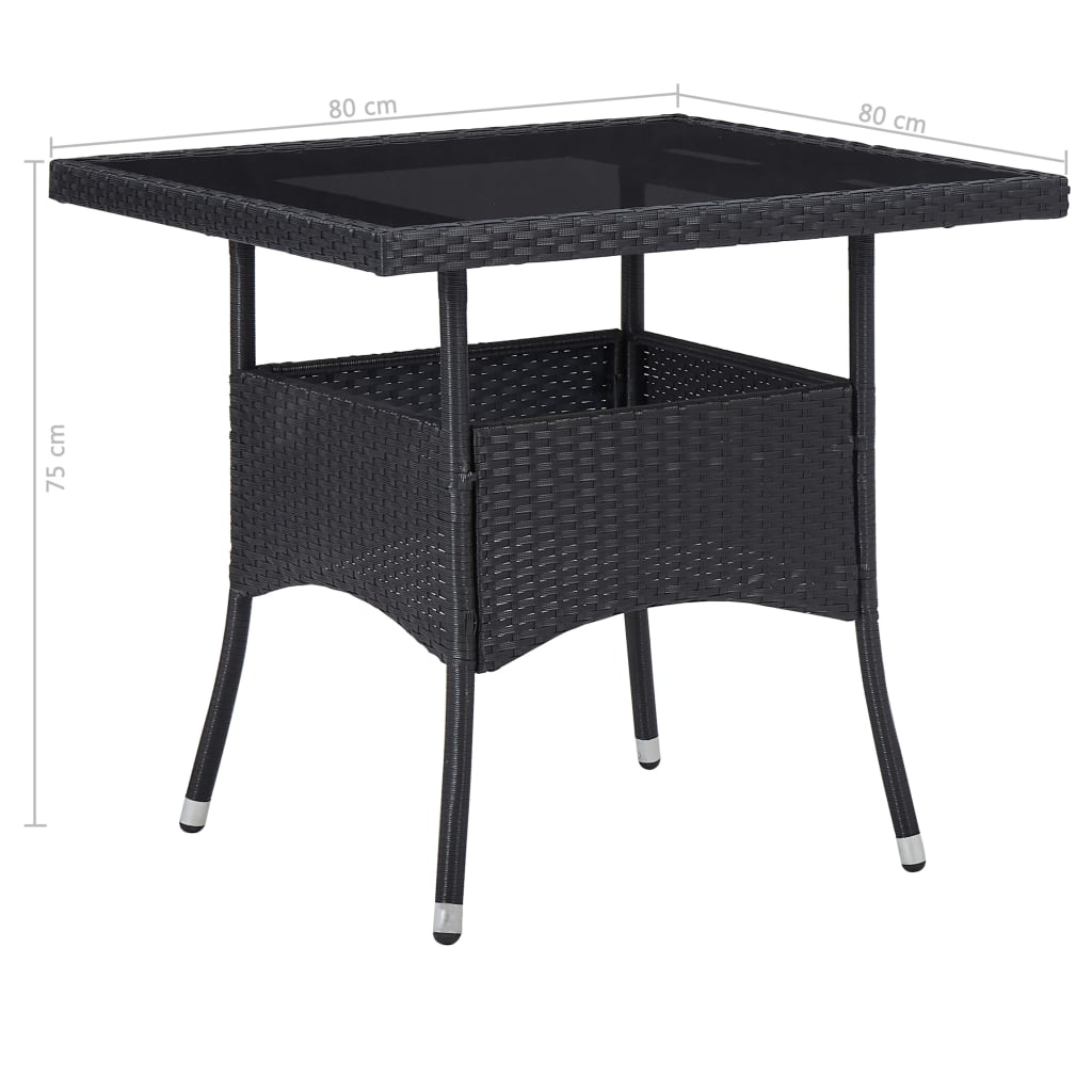 5 Piece Outdoor Dining Set Black Poly Rattan and Glass 10