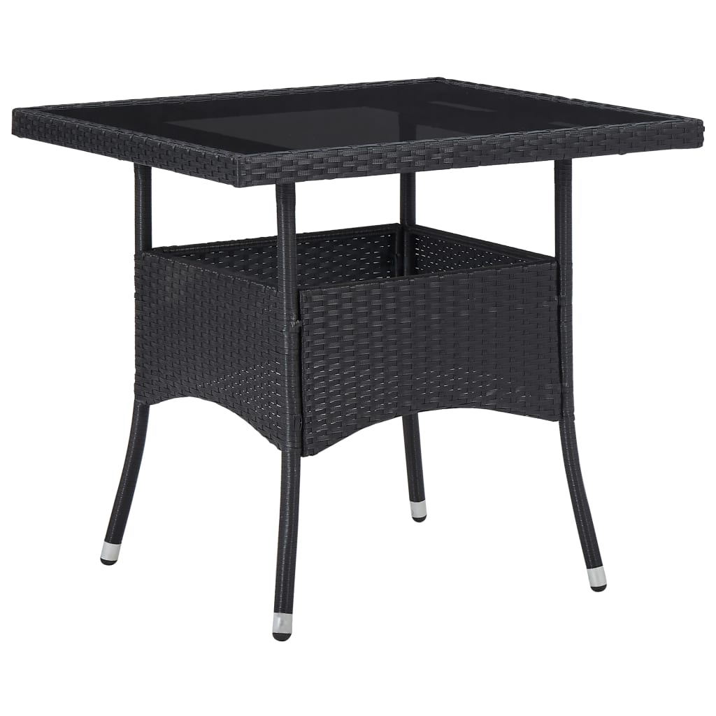 Outdoor Dining Table Black Poly Rattan and Glass 1