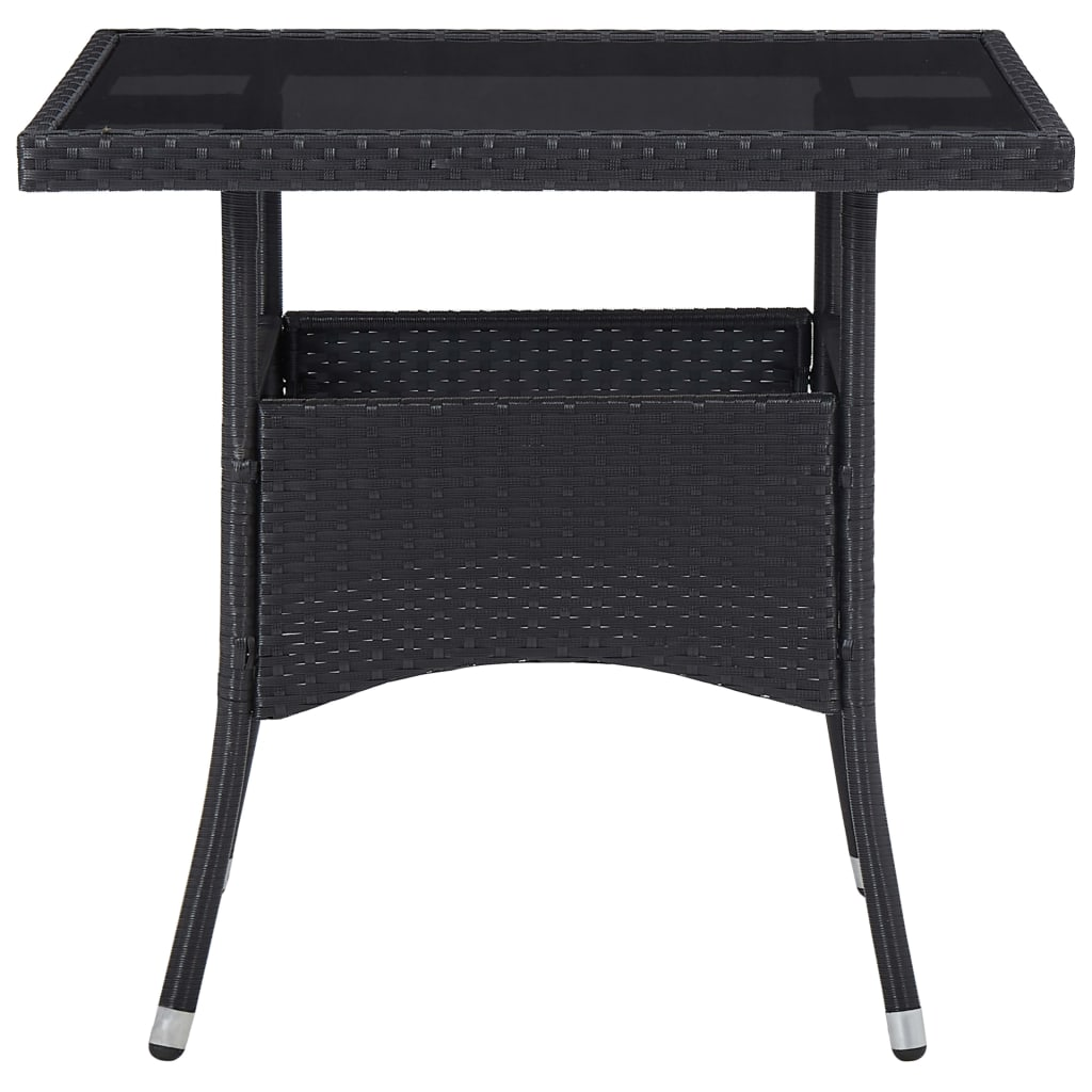 Outdoor Dining Table Black Poly Rattan and Glass 2