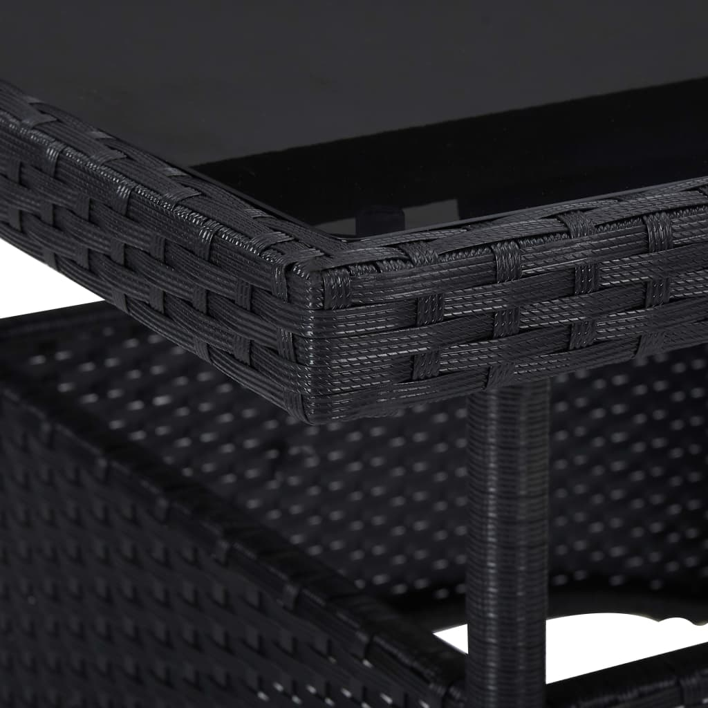 Outdoor Dining Table Black Poly Rattan and Glass 3