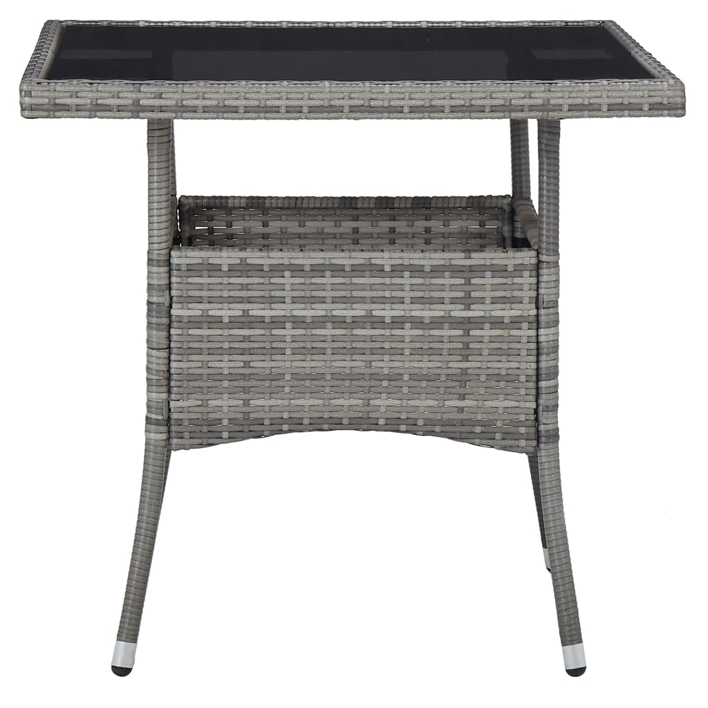 Outdoor Dining Table Grey Poly Rattan and Glass 2