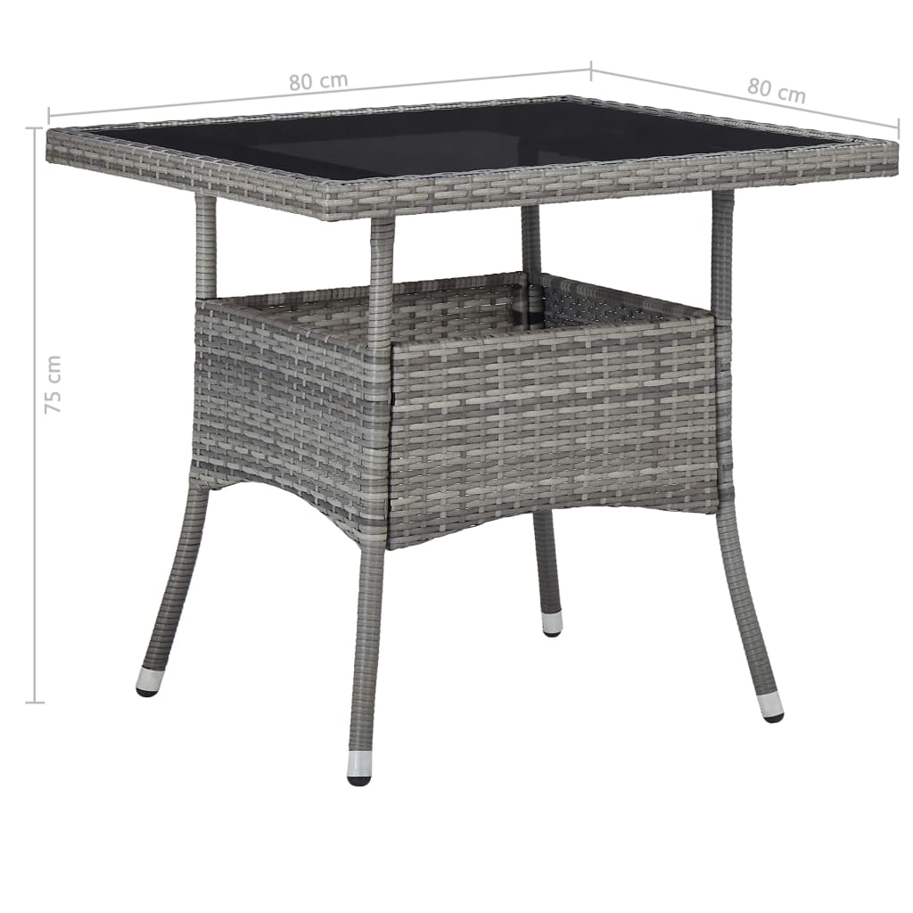 Outdoor Dining Table Grey Poly Rattan and Glass 5