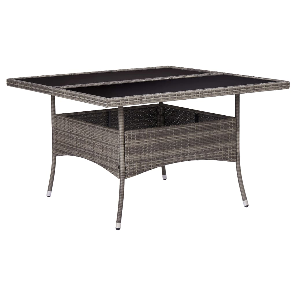 Outdoor Dining Table Grey Poly Rattan and Glass 1