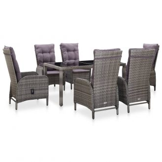 7 Piece Outdoor Dining Set Poly Rattan and Tempered Glass Grey 1