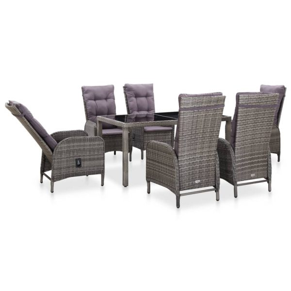 7 Piece Outdoor Dining Set Poly Rattan and Tempered Glass Grey 2