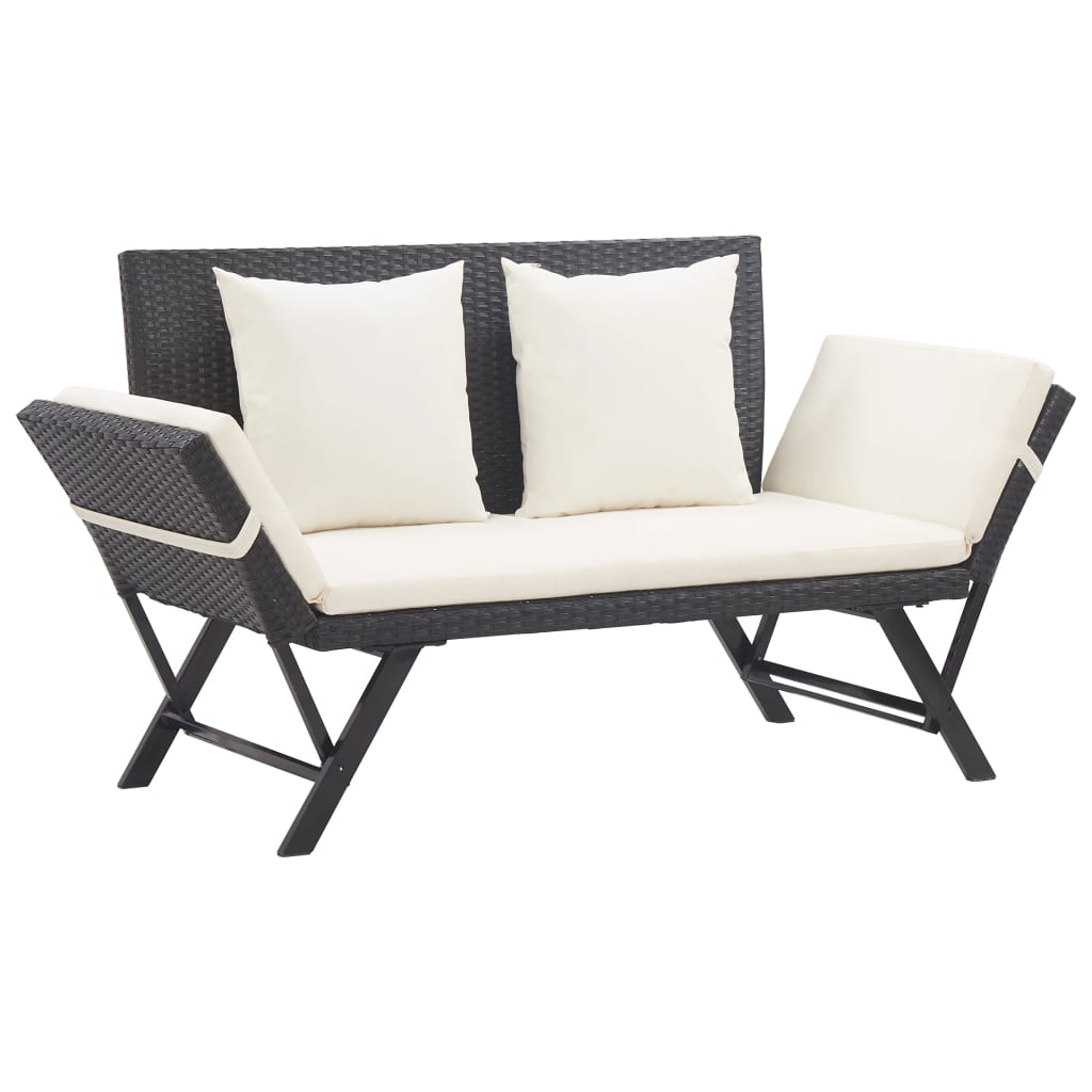 Garden Bench with Cushions 176 cm Black Poly Rattan 1