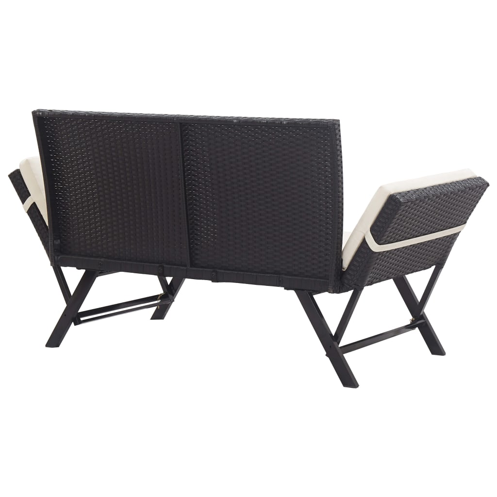 Garden Bench with Cushions 176 cm Black Poly Rattan 4