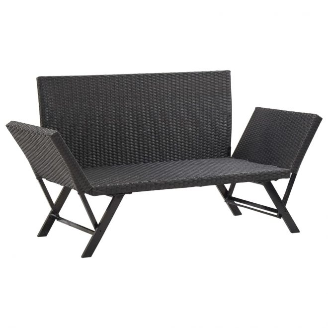 Garden Bench with Cushions 176 cm Black Poly Rattan 6