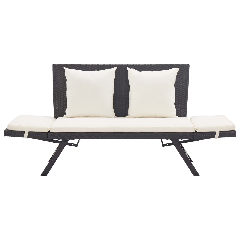 Garden Bench with Cushions 176 cm Black Poly Rattan 7