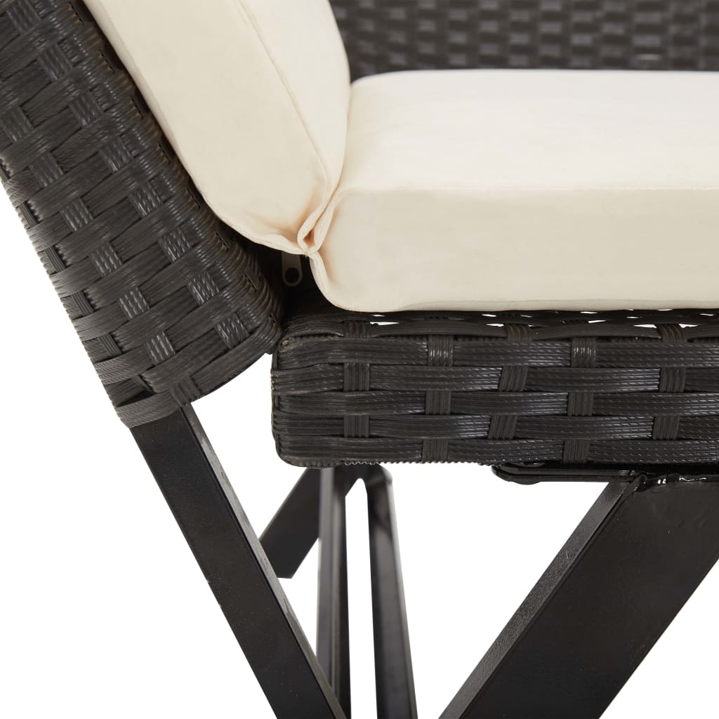 Garden Bench with Cushions 176 cm Black Poly Rattan 9