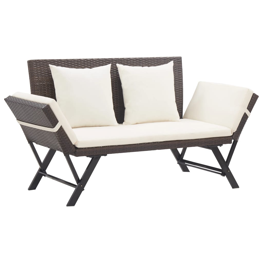 Garden Bench with Cushions 176 cm Brown Poly Rattan 1