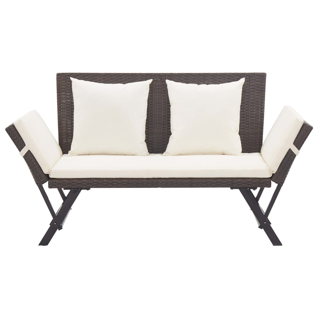 Garden Bench with Cushions 176 cm Brown Poly Rattan 2
