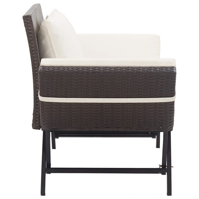 Garden Bench with Cushions 176 cm Brown Poly Rattan 3