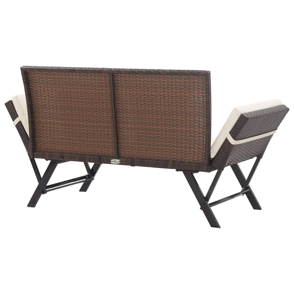 Garden Bench with Cushions 176 cm Brown Poly Rattan 4