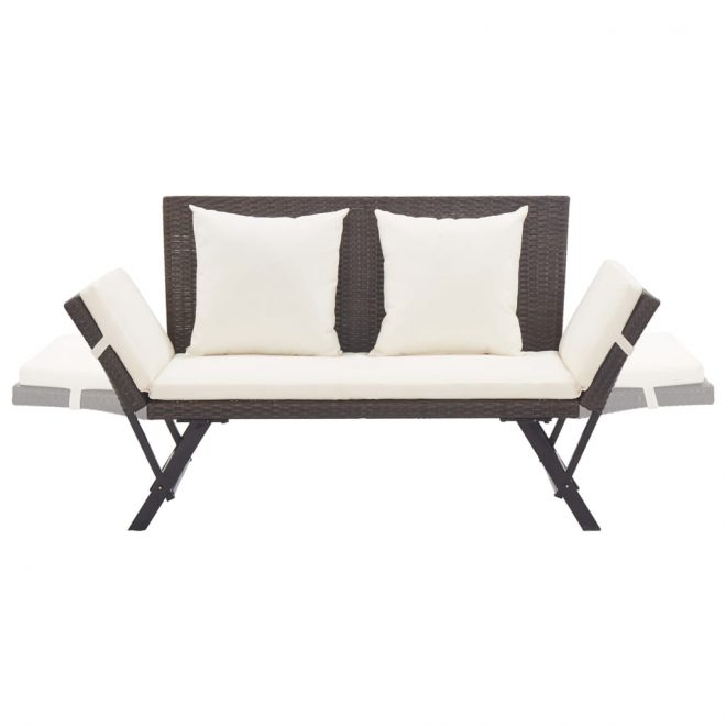Garden Bench with Cushions 176 cm Brown Poly Rattan 5