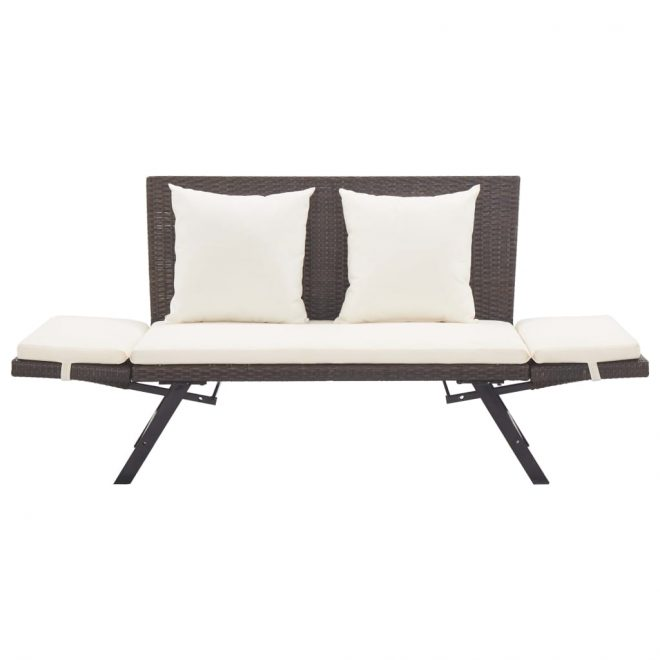 Garden Bench with Cushions 176 cm Brown Poly Rattan 6