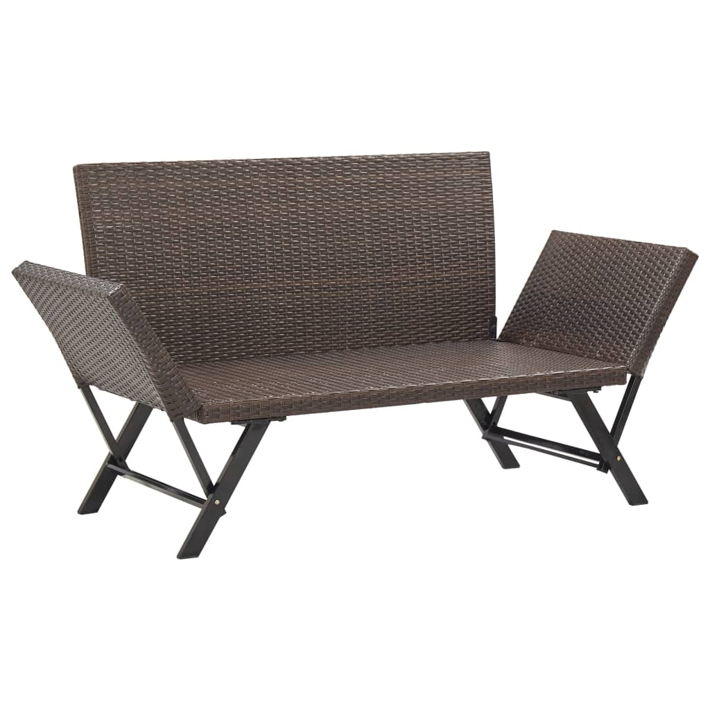 Garden Bench with Cushions 176 cm Brown Poly Rattan 7