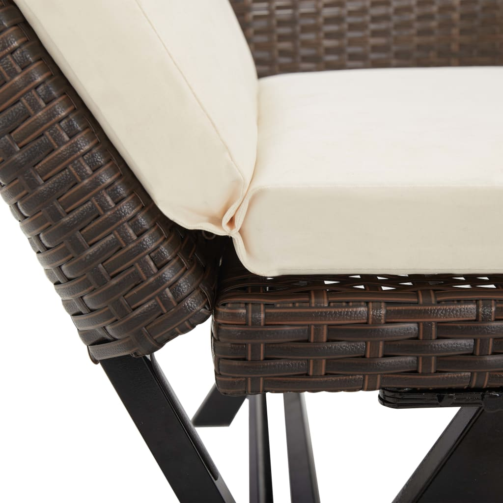 Garden Bench with Cushions 176 cm Brown Poly Rattan 9