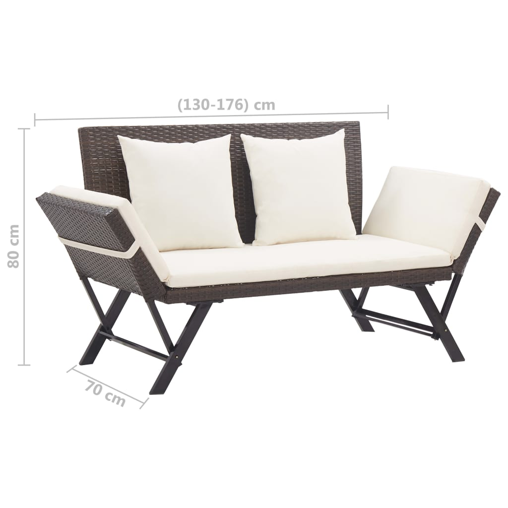 Garden Bench with Cushions 176 cm Brown Poly Rattan 10