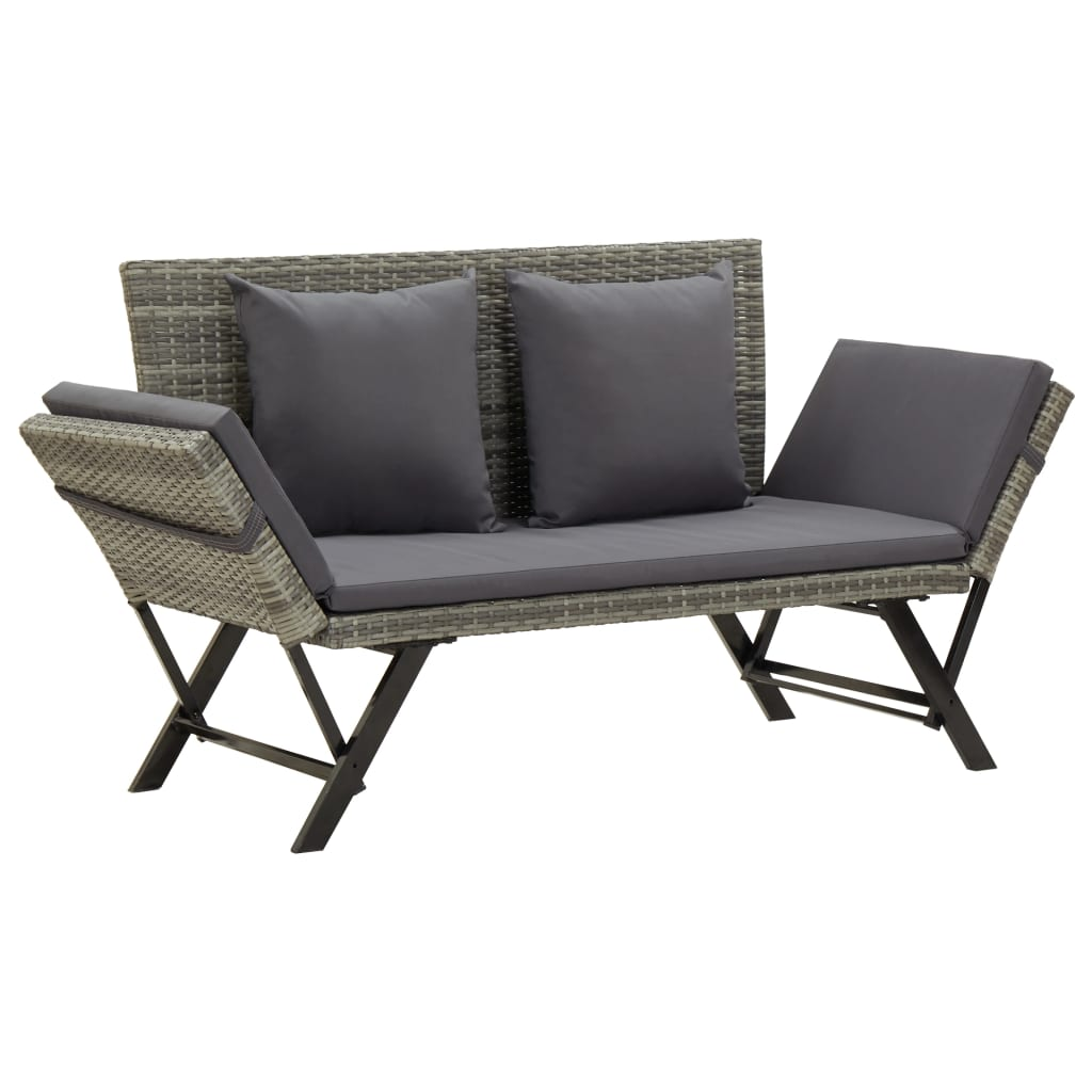 Garden Bench with Cushions 176 cm Grey Poly Rattan 1