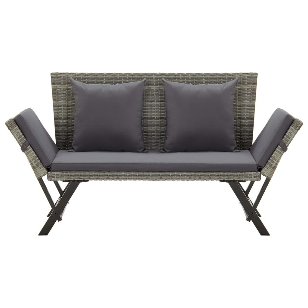 Garden Bench with Cushions 176 cm Grey Poly Rattan 2