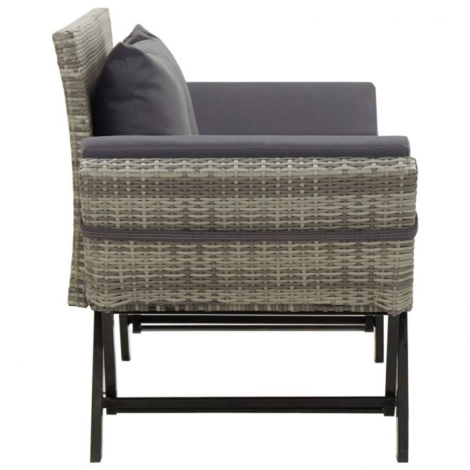 Garden Bench with Cushions 176 cm Grey Poly Rattan 3
