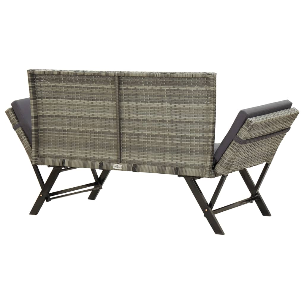 Garden Bench with Cushions 176 cm Grey Poly Rattan 4