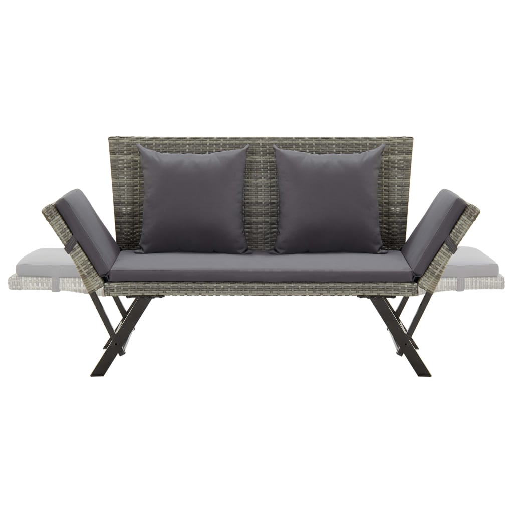 Garden Bench with Cushions 176 cm Grey Poly Rattan 5