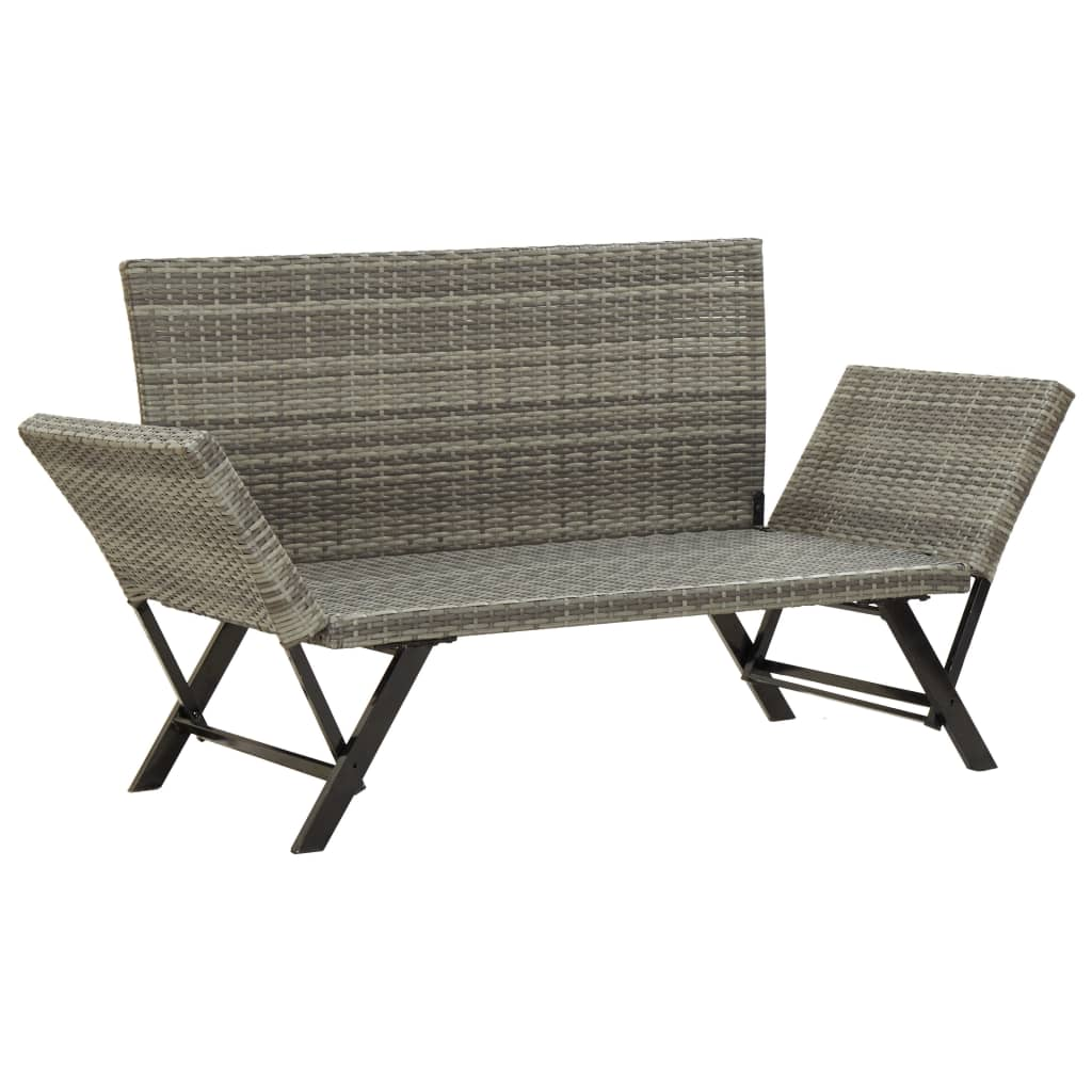 Garden Bench with Cushions 176 cm Grey Poly Rattan 6