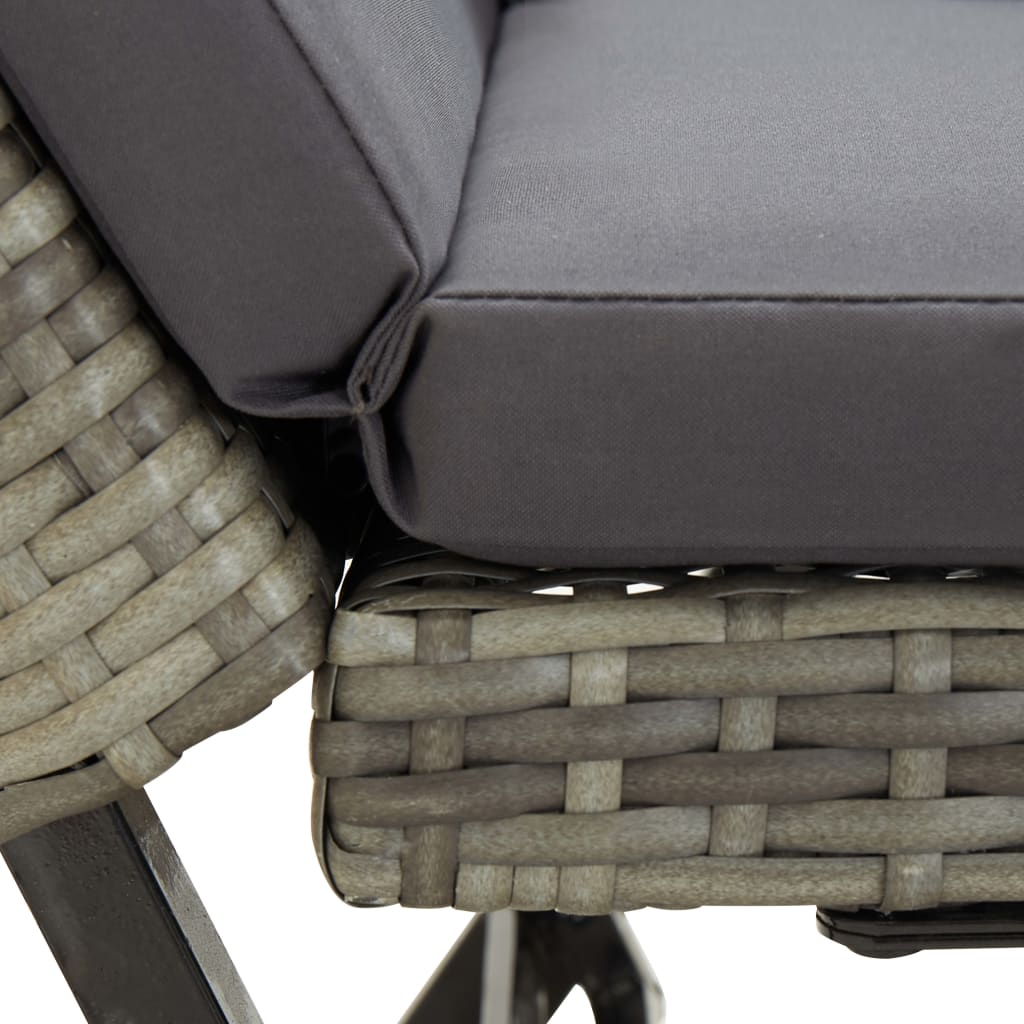 Garden Bench with Cushions 176 cm Grey Poly Rattan 7