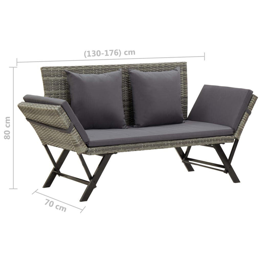 Garden Bench with Cushions 176 cm Grey Poly Rattan 9