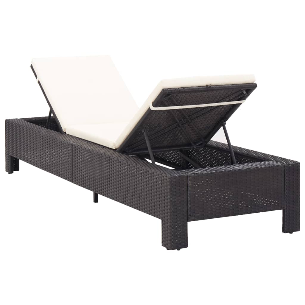 Sunbed with Cushion Black Poly Rattan 3
