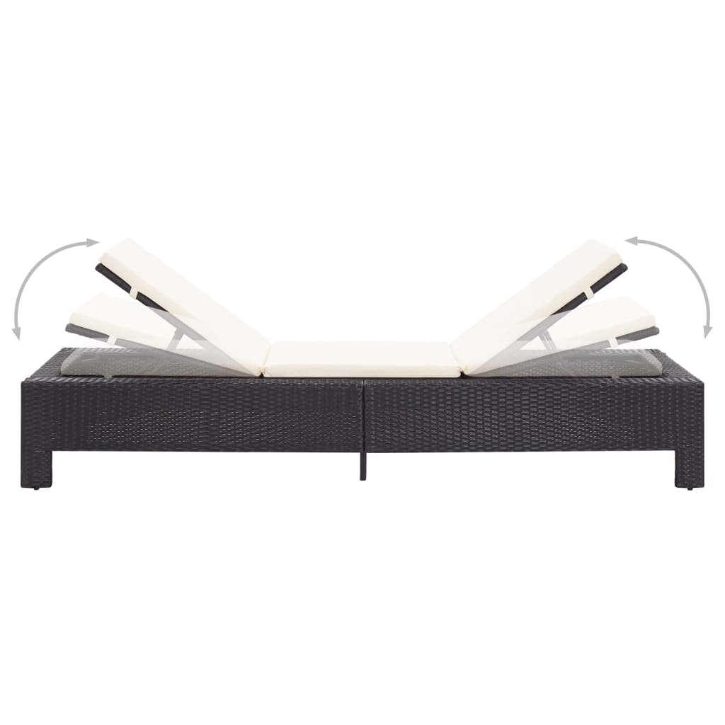 Sunbed with Cushion Black Poly Rattan 4