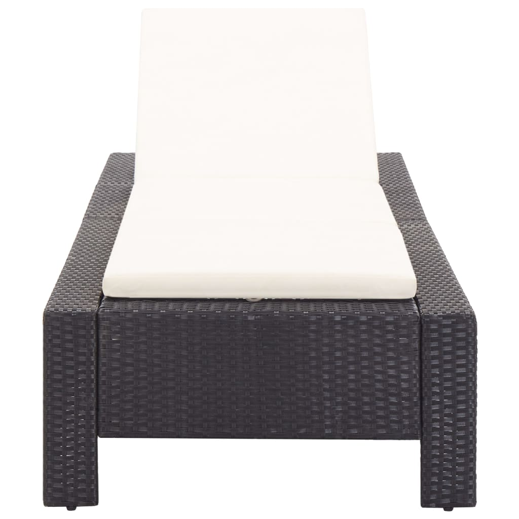 Sunbed with Cushion Black Poly Rattan 5